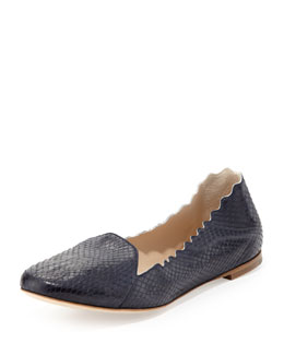 Chloe Scalloped Snakeskin Loafer, Navy