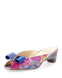 Stuart Weitzman Candy Open-Toe Slipper with Bow Detail, Splash