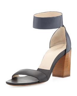 Chloe Two-Tone Ankle Strap Sandal, Black/Seawater