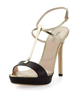 Giorgio Armani Metallic T-Bar Platform Sandal