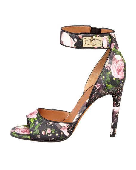 Floral Shark-Lock Ankle-Wrap Sandal