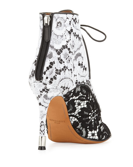 Open-Toe Lace Ankle Boot