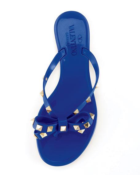 Rockstud PVC Thong Sandal, Blue