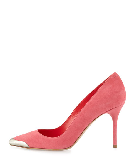 Metal-Tipped Suede Pump, Pink