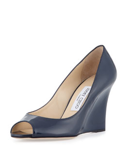 Jimmy Choo Baxen Peep-Toe Patent Wedge Pump, Navy