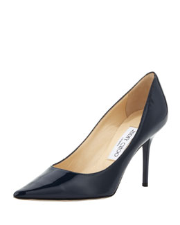 Jimmy Choo Agnes Pointed-Toe Patent Pump, Navy