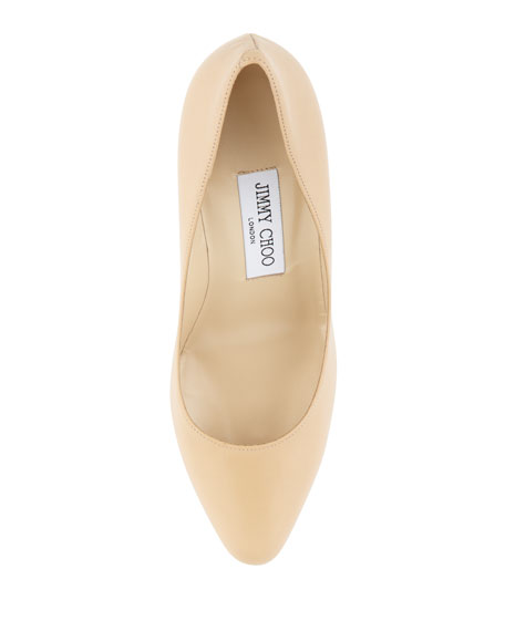 Gilbert Leather Almond-Toe Pump, Nude