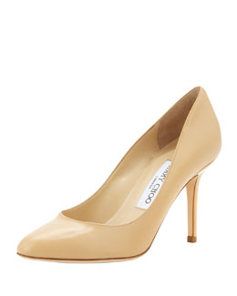 Jimmy Choo Gilbert Leather Almond-Toe Pump, Nude