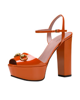 Gucci Claudie Patent Platform Sandal, Orange