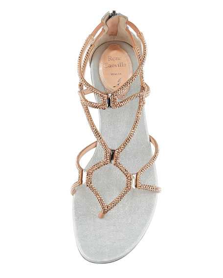 Crystal Strappy Sandal, Rose Gold & Silver