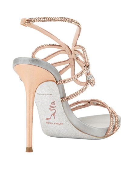 Crystal High-Heel Ankle-Wrap Sandal, Rose Gold/Silver