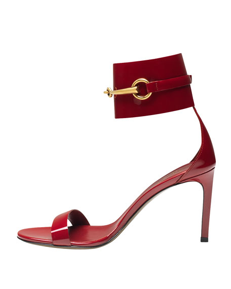 Ursula Patent Low-Heel Cage Sandal, Red