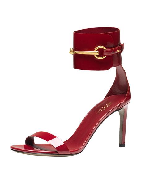 Ursula Patent Low-Heel Cage Sandal, Red