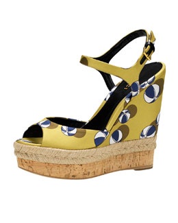Gucci Hollie Printed Satin Wedge Sandal, Lime/Blue