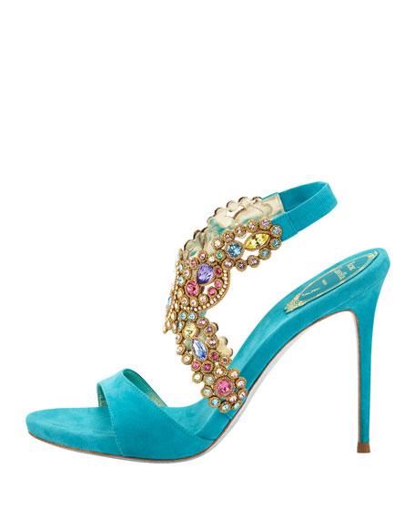 Jeweled Halter Platform Sandal, Turquoise Multi