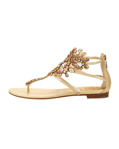 Chandalier Bejeweled Ankle Flat Sandal