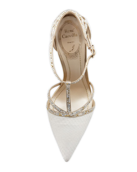 Bejeweled T-Strap d'Orsay Pump, White