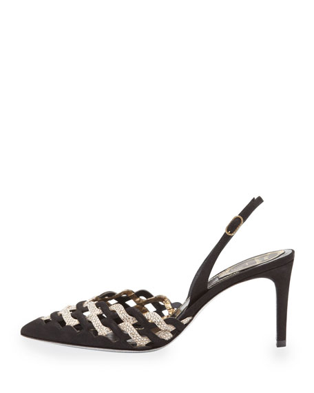 Woven Crystal Pointed-Toe Halter Pump, Black/Champagne