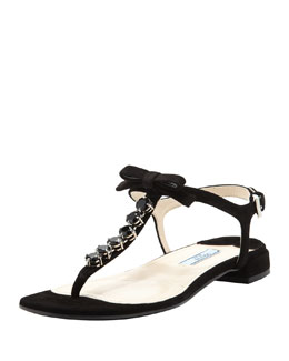 Prada Suede Jeweled Thong Sandal