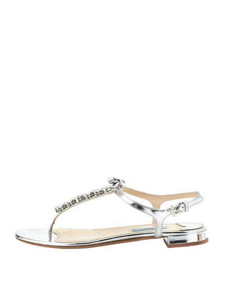 Metallic Jewled Thong Sandal