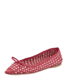 Prada Woven Point-Toe Bow Flat