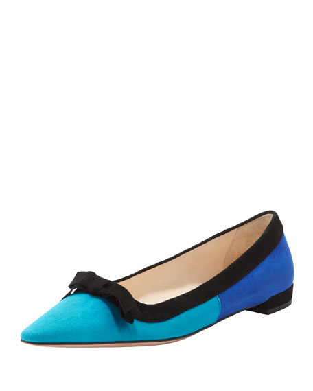 72664b8b4 Prada Suede Tricolor Pointed-Toe Ballet Flat with Bow, Turquoise/Blue