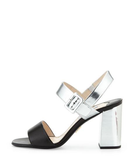 Bicolor Block Heel Sandal