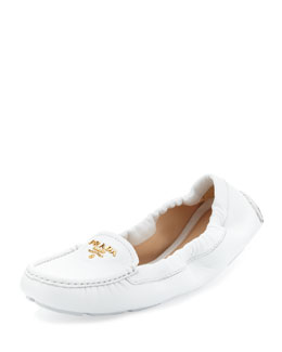 Prada Leather Logo Scrunch Driver, White