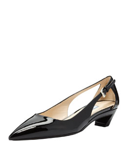 Prada Vernice Pointed-Toe Cutout Pump
