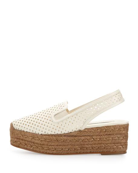Perforated Espadrille Flatform Sandal