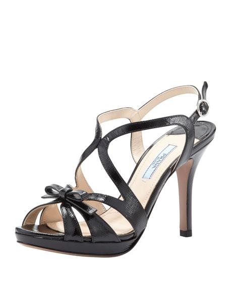 Vernice Saffiano Strappy Bow Sandal, Black