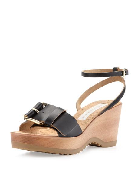 Wedge Heel Black Cork Linda Ankle Wrap CQrdhts