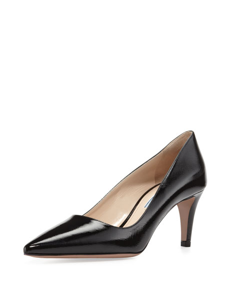 Textured Patent Leather Point-Toe Pump, Black