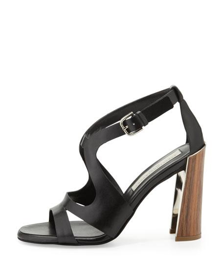 Wooden-Heel Cutout Sandal