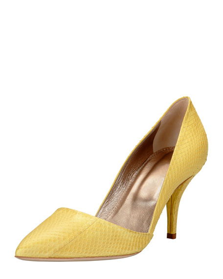 Snakeskin Pointed-Toe Pump, Yellow