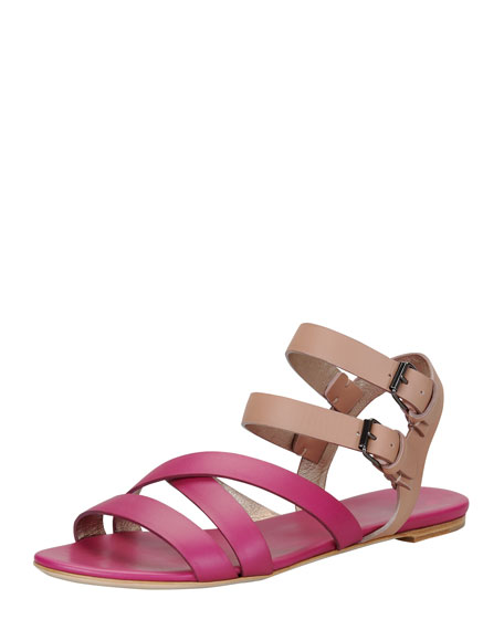 Double-Buckle Flat Strappy Sandal, Nude/Fuchsia