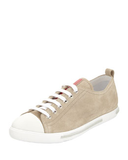 Prada Suede Lace-Up Sneaker, Sand