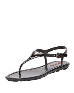 Prada Patent Leather Thong Sandal, Black