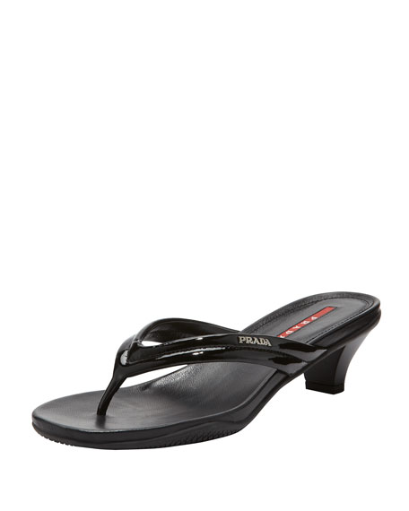 Prada Patent Low-Heel Thong Sandal, Black