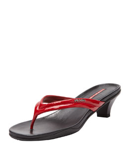 Prada Patent Low-Heel Thong Sandal, Red