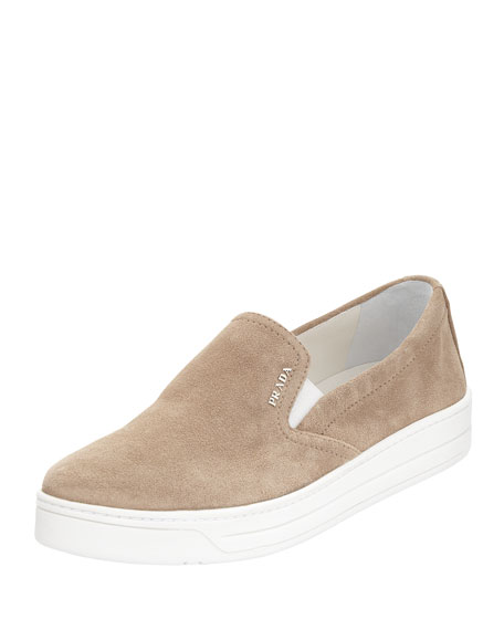 Suede Slip-On Sneaker, Sand