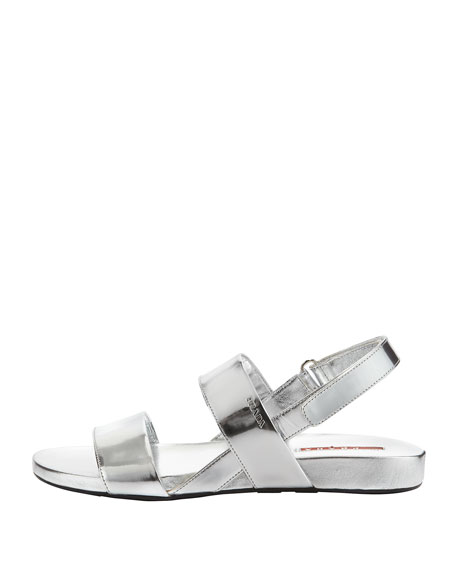 Prada Metallic Double Band Flat Sandal Silver