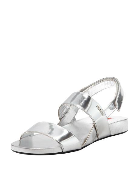 Metallic Double-Band Flat Sandal, Silver