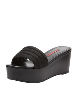 Prada Nylon Flatform Slide, Black