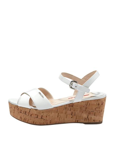 Patent Crisscross Sandal, White