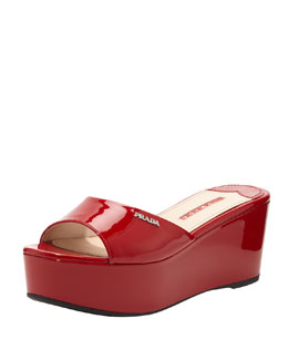Prada Patent Leather Flatform Slide, Red