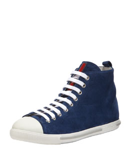 Prada Suede Lace-Up High Top Sneaker, Dark Blue
