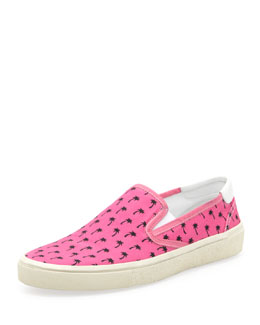 Saint Laurent Palm-Print Slip-On, Pink/Black
