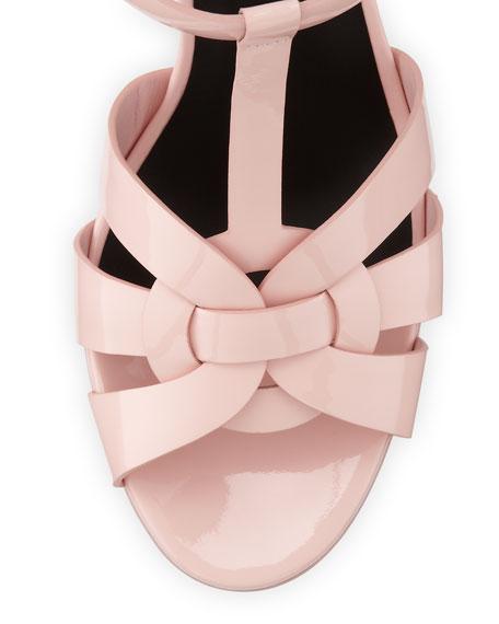 Tribute Mid-Heel Patent Platform Sandal, Pale Rose