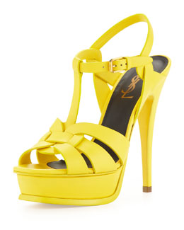 Saint Laurent Tribute High-Heel Leather Sandal, Mustard
